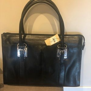 Wilson leather top zip leather tote briefcase